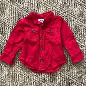 Old Navy Red Flannel Button-Down Shirt. 18-24 m